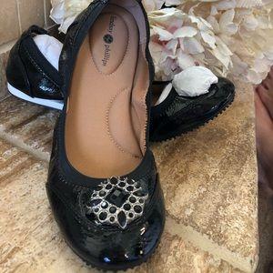 Lindsay- Phillips Black Patent Ballet Flats